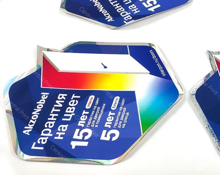цветная фигурная наклейка для техники
